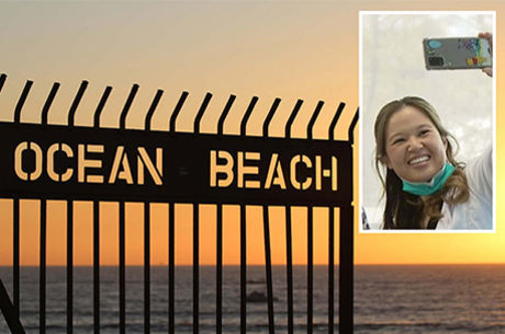 Dr. Saw selfie with Ocean Beach sunset