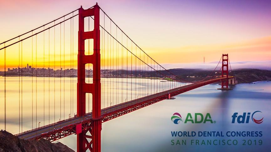 golden gate bridge and logo for the world dental congress 2019