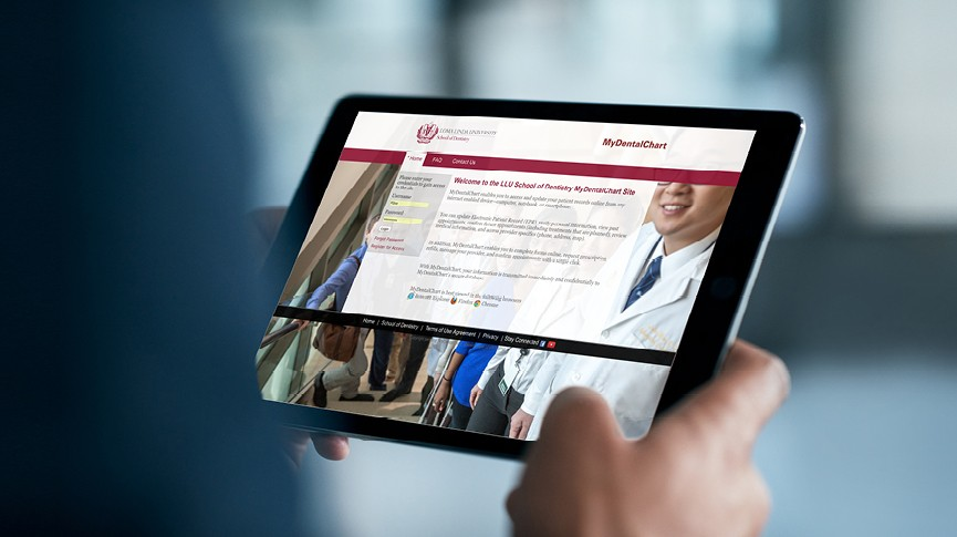 dentistry portal website on a tablet